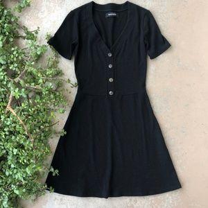 Reformation Black Ribbed Fit & Flare Mini Dress